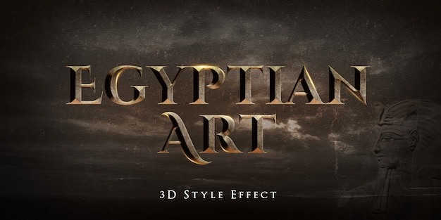 Egyptian art 3d text style effect Premium Psd