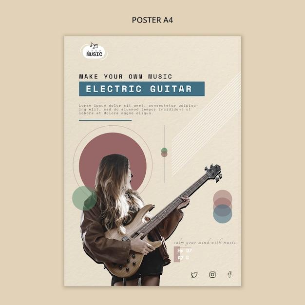 Progettazione di poster di lezioni di chitarra elettrica Psd Gratuite