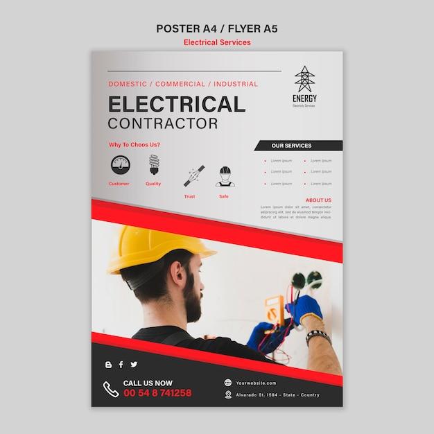 電気工事請負業者のポスターデザイン 無料 Psd