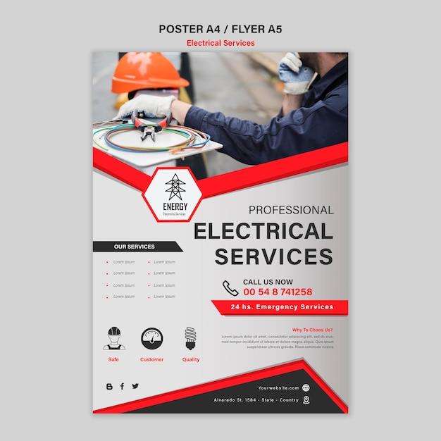 전기 전문가 서비스 전단지 스타일 무료 PSD 파일