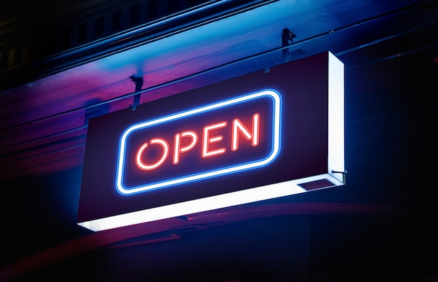 Electrical neon 'open' signage Free Psd