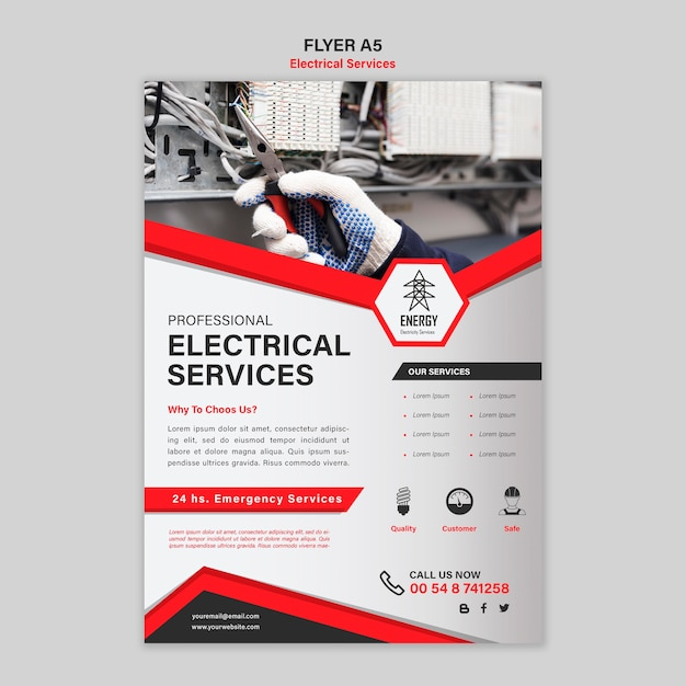 Electrical services flyer design Free Psd
