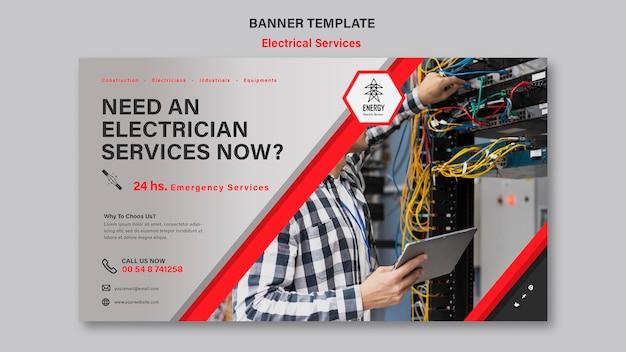 Дизайн горизонтального баннера электрических услуг Бесплатные Psd
