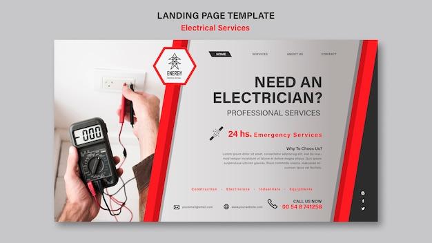 電気サービスのランディングページのデザイン 無料 Psd