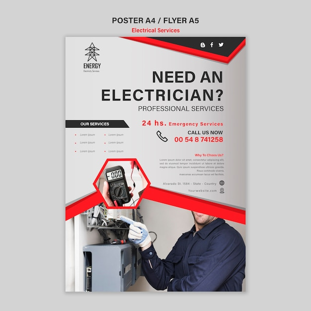 Electrical services poster style | Free PSD File