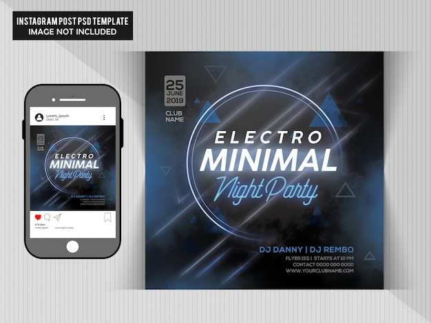 Electro minimal night party Premium Psd