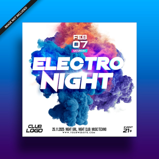 Electro night music festival  flyer poster Premium Psd