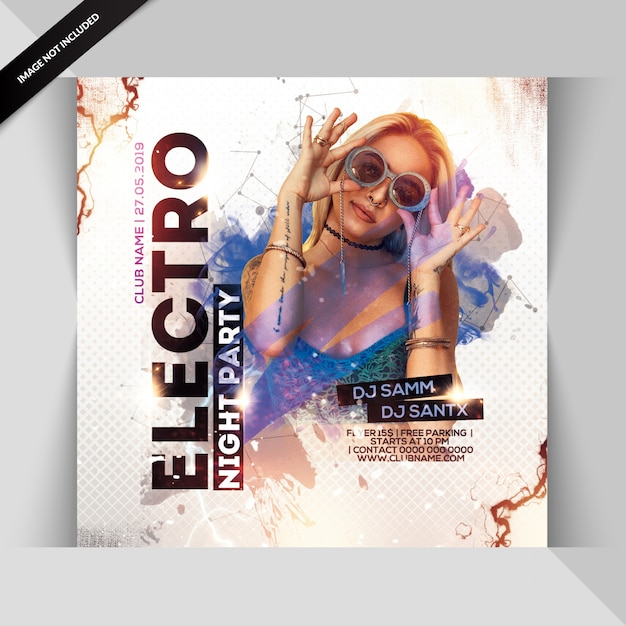 Electro night party flyer Premium Psd