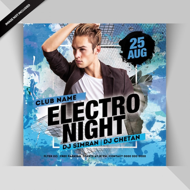 Electro night party flyer Premium Psd