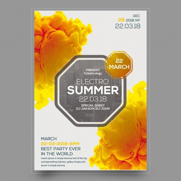 Electro party flyer mockup Free Psd