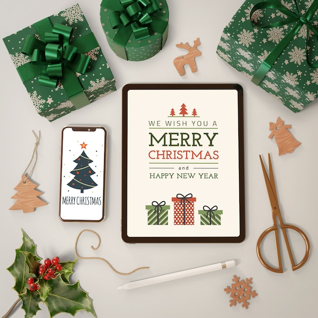 Electronic devices beside gift collection Free Psd