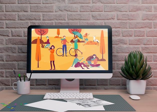Electronic monitor device on desktop Free Psd