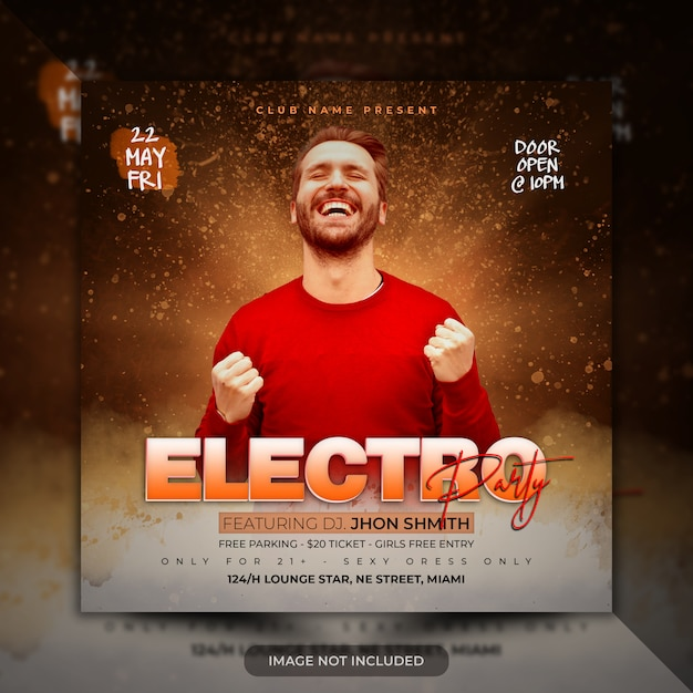 Electronic music poster template party flyer
