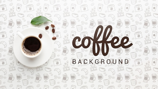 커피 컵과 우아한 배경 무료 PSD 파일