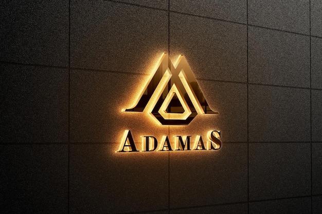 Elegant backlit logo sign mockup Premium Psd