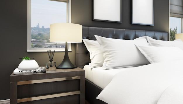 Элегантная кровать и тумбочка Бесплатные Psd