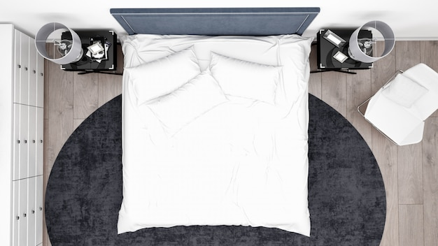 Элегантная спальня или номер в отеле с классической мебелью, вид сверху Бесплатные Psd