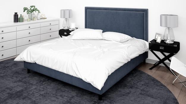 Элегантная спальня или гостиничный номер с классической мебелью Бесплатные Psd