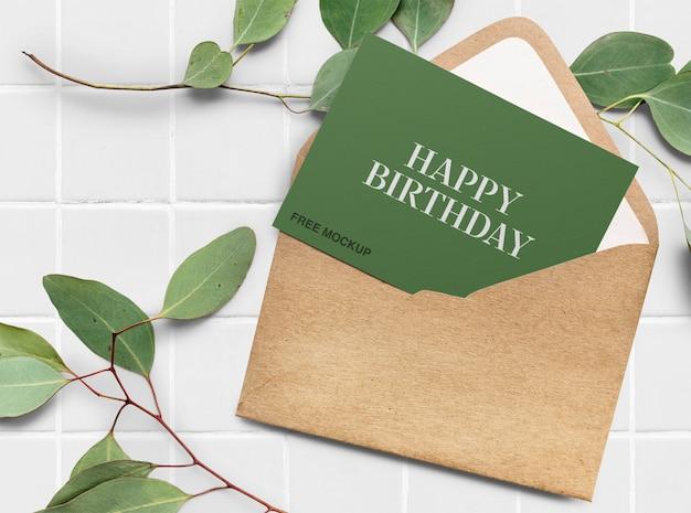 Elegant birthday card mockup Premium Psd