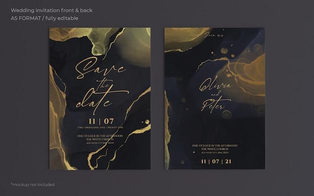 Элегантный черно-золотой шаблон свадебного приглашения Бесплатные Psd