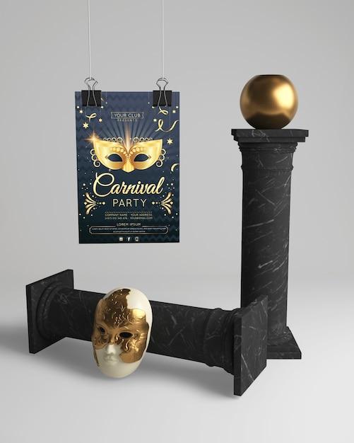 Elegante design in maschera nera e dorata Psd Gratuite