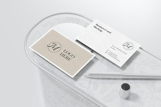 Elegant business card mockup design in 3d rendering Premium Psd