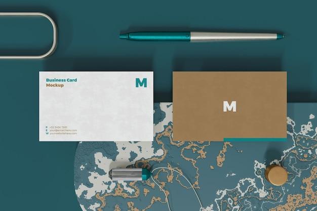 3d 렌더링의 우아한 명함 모형 디자인 프리미엄 PSD 파일