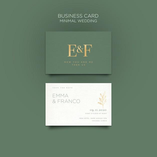 Элегантный шаблон визитной карточки для свадьбы Бесплатные Psd