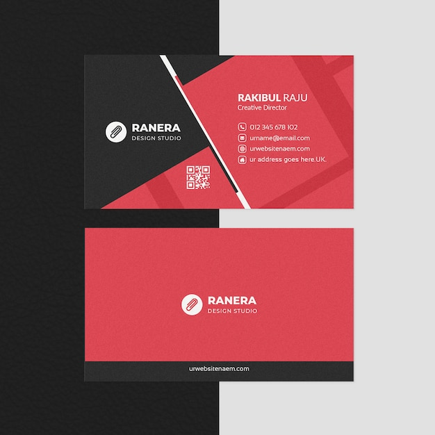 Elegant business card template with red shape Premium Psd