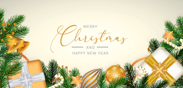 Elegant christmas background in realistic style with golden decoration Free Psd