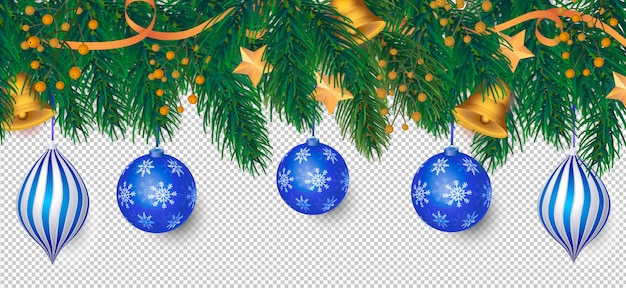 Elegant christmas background with blue decoration Free Psd