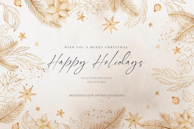 황금 자연과 장식품 우아한 크리스마스 배경 무료 PSD 파일
