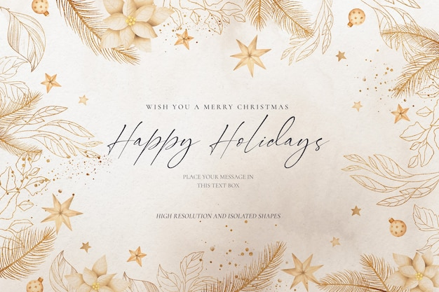 Elegant christmas background with golden nature and ornaments Free Psd