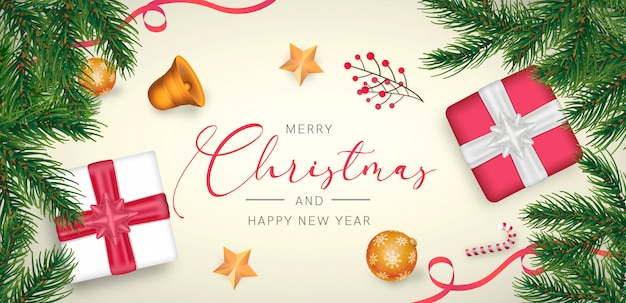 Elegant christmas background with red and golden decoration Free Psd