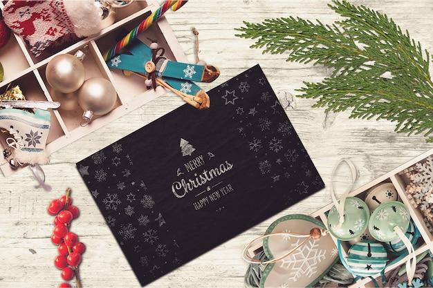 Элегантный макет рождественской открытки Premium Psd