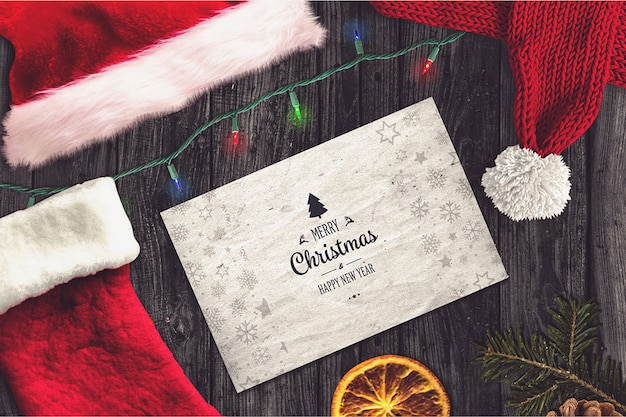 Элегантная рождественская открытка Premium Psd