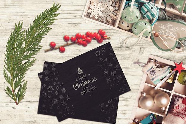 Элегантные рождественские открытки Premium Psd