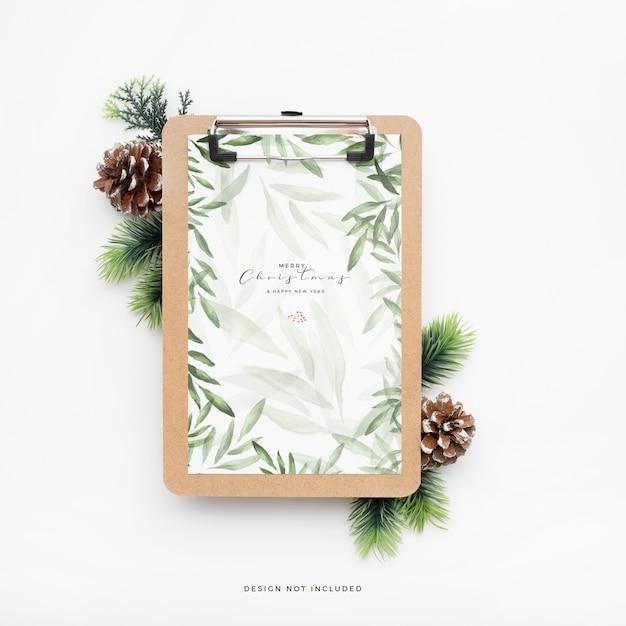 Элегантная новогодняя папка с шишками Бесплатные Psd