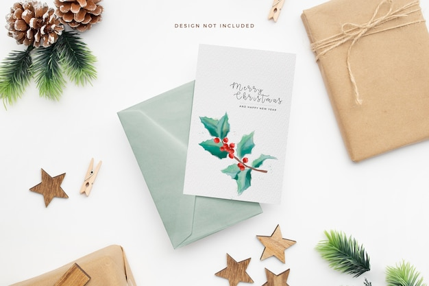 Elegant christmas stationery with pine cones and wooden stars Free Psd