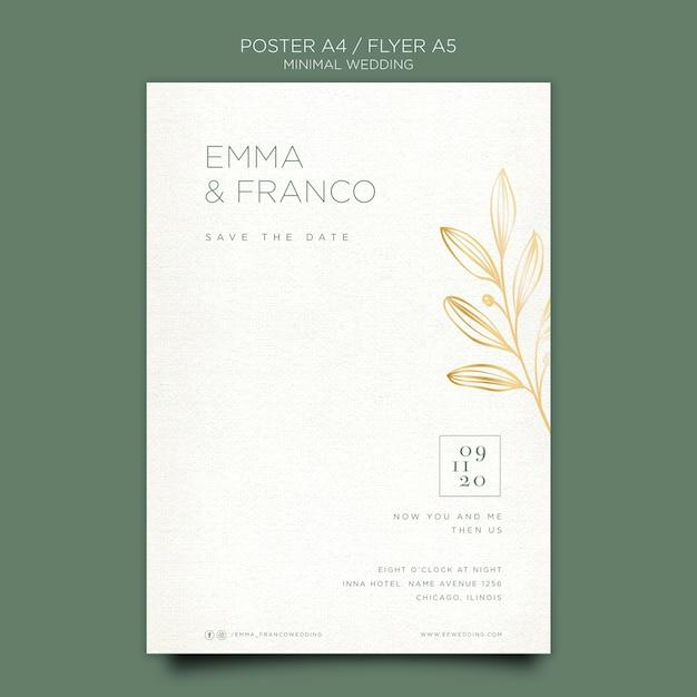 Элегантный флаер шаблон для свадьбы Premium Psd