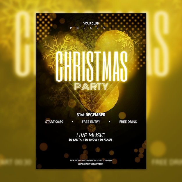 elegant golden and black christmas party poster mockup free psd - Black Christmas Music