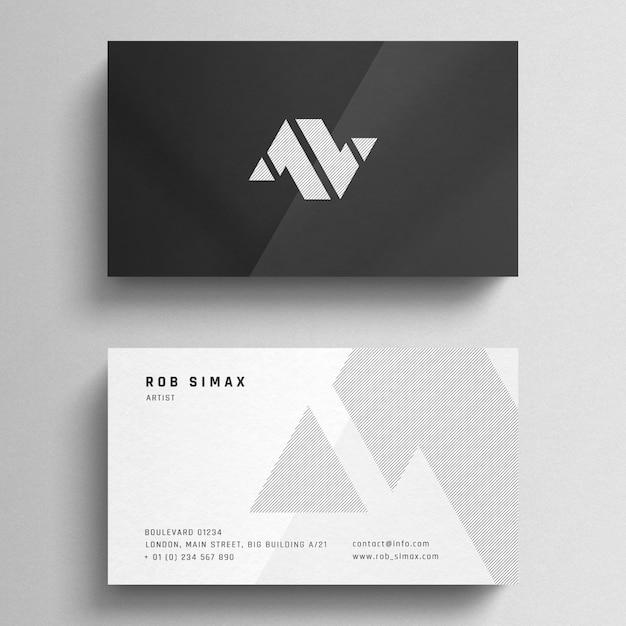 Elegant grey and white business card mockup Premium Psd