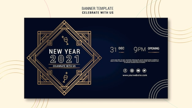 Elegant horizontal banner template for new years party Free Psd