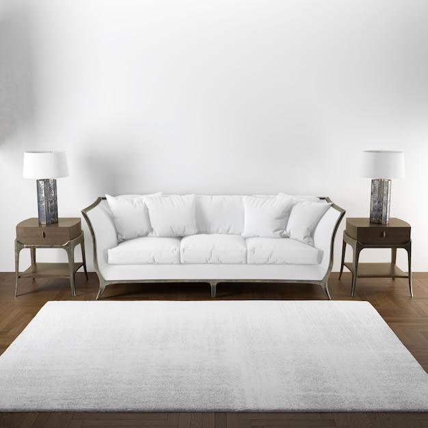 Elegant interior design mockup of living room with wooden furniture Free Psd