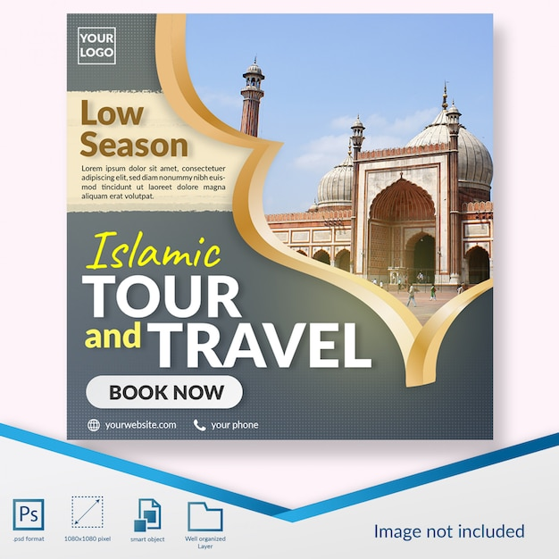 Elegant islamic hajj tour and travel social media post template Premium Psd