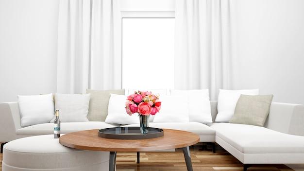Элегантная гостиная с белым диваном и центральным столом Бесплатные Psd