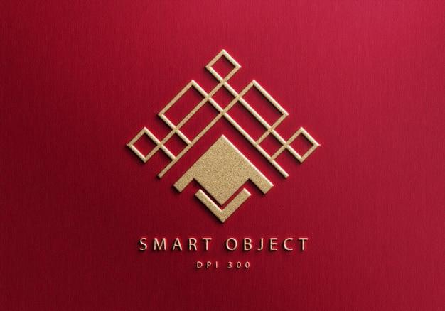 Элегантный дизайн макета логотипа на красном текстурированном фоне Premium Psd