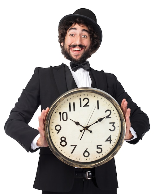 Elegant man with a giant clock Free Psd