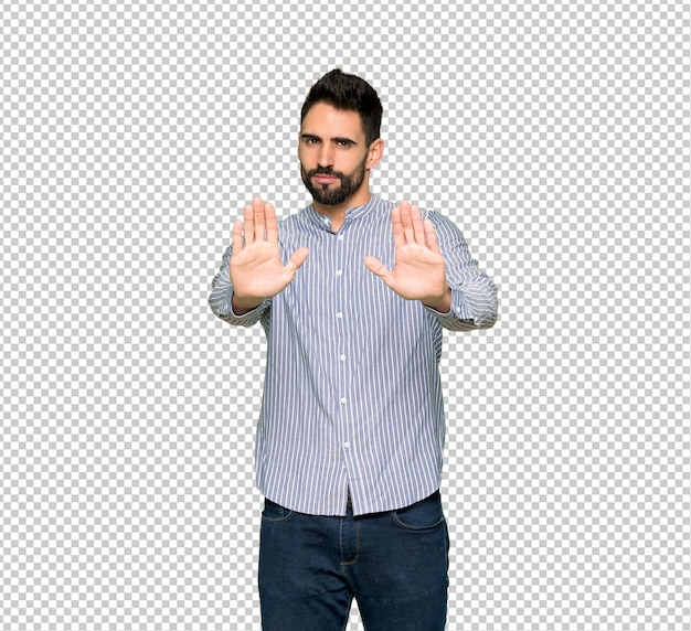 Elegant man with shirt making stop gesture for disappointed with an opinion Premium Psd