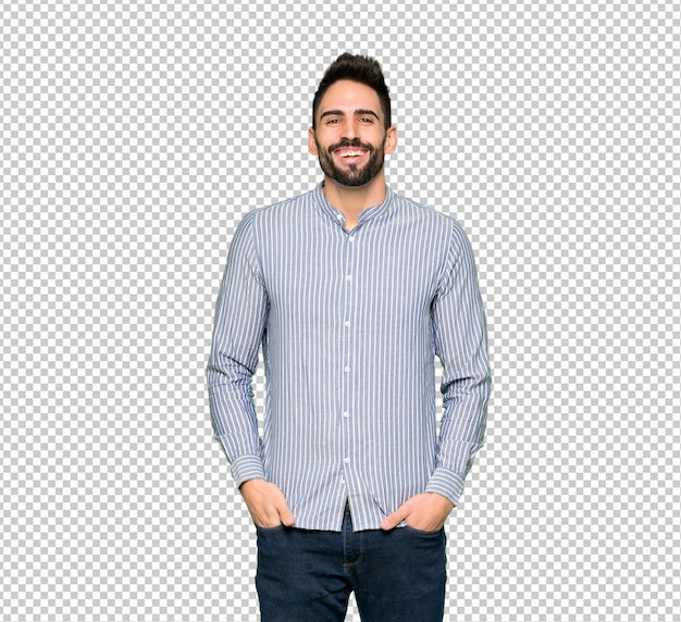 Elegant man with shirt smiling a lot while putting hands on chest Premium Psd